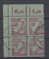 Mecklenburg Vorpommern  Michel No. 13 gestempelt used Viererblock Eckrand