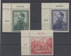 DDR Michel No. 286 - 288 ** postfrisch Eckrand / No. 286 , 288 waagerecht gefaltet, minimal angetrennt