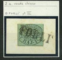 STATO PONTIFICIO - PAPAL STATE SINGLE STAMPS -  SASS. 2a - 1 Baj - Usato  - VERDE AZZURRO / CHIARO ANNULLO FORLI - Stato Pontificio