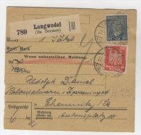 Deutsches Reich Michel No. 357 , 363 gestempelt auf Paketkarte