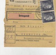 Deutsches Reich Michel No. 789 , 798 gestempelt auf Paketkarte