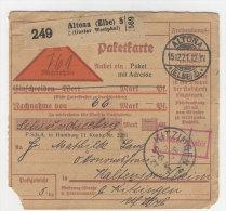 Deutsches Reich Paketkarte 1921 Geb�hr bezahlt Stempel Altona