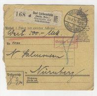 Deutsches Reich Paketkarte 1921 Geb�hr bezahlt Stempel Bad Liebenstein