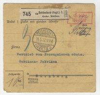 Deutsches Reich Paketkarte 1922 Geb�hr bezahlt Stempel Reichenbach