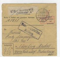 Deutsches Reich Paketkarte 1922 Geb�hr bezahlt Stempel Berlin