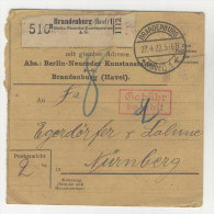 Deutsches Reich Paketkarte 1922 Geb�hr bezahlt Stempel Brandenburg