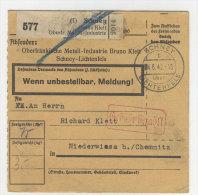 Deutsches Reich Paketkarte 1942 Geb�hr bezahlt Stempel Schney