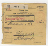 Deutsches Reich Paketkarte 1942 Geb�hr bezahlt Stempel Asch