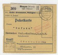 Deutsches Reich Paketkarte 1942 Geb�hr bezahlt Stempel Mengen