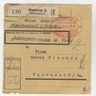 Deutsches Reich Paketkarte 1942 Geb�hr bezahlt Stempel Hannover