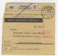 Deutsches Reich Paketkarte 1942 Geb�hr bezahlt Stempel Chemnitz