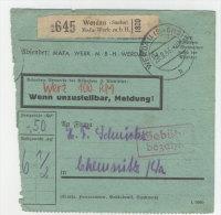 Deutsches Reich Paketkarte 1943 Geb�hr bezahlt Stempel Werdau