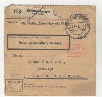 Deutsches Reich Paketkarte 1943 Geb�hr bezahlt Stempel Ehrenfriedersdorf