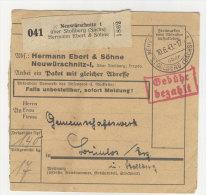 Deutsches Reich Paketkarte 1943 Geb�hr bezahlt Stempel Neuw�rschnitz