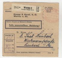 Deutsches Reich Paketkarte 1944 Geb�hr bezahlt Stempel Worms