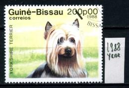 Repubbl. Di GUINEA. BISSAU -year 1988 - Cani - Dogs - Usato - Used . - Cani