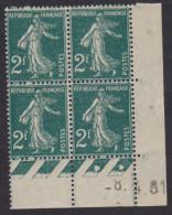 Semeuse 2f Vert - Coin Daté - 1931 - Coins Datés