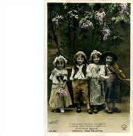 Belle Carte       -  Enfants  -  Il Fait Beau Temps Bergére    F423 Signée Croissant - Scènes & Paysages