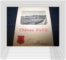 Ancienne étiquette CHATEAU PAVIE Neuve Original Wine Label Wein Etikett Saint Emilion 1er Cru Classé A - Bordeaux