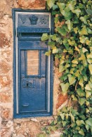 Postcard - Blue Victorian Wall Pillar/Post Box In Guernsey. British Postbox Series - No.43 - Poste & Postini