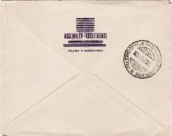 """ROMA / PALERMO - Cover_Lettera 8.11.1947 """" ASSEMBLEA COSTITUENTE """" + Tondo """" Camera Dei Deputati A.P. """" Lire 10 Isolato - 1946-60: Marcofilia"""