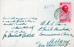 """CARTOLINA POSTALE """" BUON NATALE"""" 21-12-1935-CORTEMAGGIORE (PIACENZA)-SPEDITA A MILANO"""