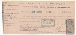 France - 1886 Lettre Change Entete CLUB ALPIN Français Section Mont Blanc Timbre Fiscal 5c - 1800 – 1899