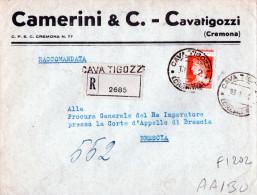BUSTA POSTALE PUBBLICITARIA-CREMONA-CAM ERINI-CAVATIGOZZI-ANNULLO CAVA TIGOZZI