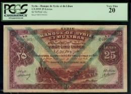 1939 BANQUE du SYRIA 25 LIVRES . Genuine Banknote.