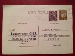 Cpa Entier 80c Pétain + Mercure  LYON  (Laboratoire Ciba)  Pour COURS 1942 - Biglietto Postale