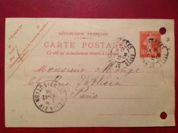 Cpa Entier 10c Semeuse PARIS Distribution Pour St MAUR DES FOSSES 1908 - Entiers Postaux