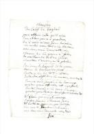 Chanson Du Calife De Bagdad.Opéra En Un Acte.Musique:F.A. Boieldieu.Paroles:Claude Godart D´Aucour,Baron De ST-Just - Manuscrits