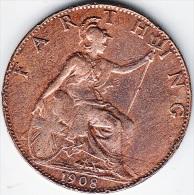 GRAN BRETAGNA1908 - 1 FARTING - 1902-1971 : Monedas Post-Victorianas