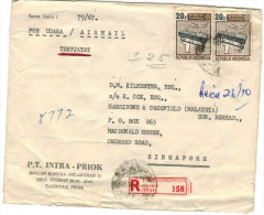 INDONESIA - 1967 - Airmail - 2 X 20 Music Instrument - Viaggiata Da Tandjung Priok Per Singapore - Namibia (1990- ...)