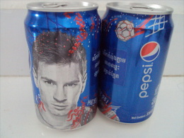 Cambodia Cambodge Pepsi 330ml Empty Can : MESSI / Opened At Bottom - Cannettes
