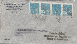 Brésil N°208, Bande De 4 Oblit Porto Alegre Sur Lettre Pour Paris Avec Griffe Noire, Accident Du Pilot Goret - 1921-1960: Modern Period