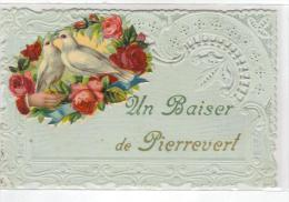 Cpa Du 04- PIERREVERT-Fantaisie Carte Dentelle & Chromo (un Baiser )(colombes) - Altri Comuni