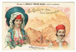 Chromo - Chocolat Poulain Orange - Monténégro - La Coiffe Chez Tous Les Peuples - Poulain