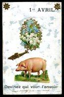 1er AVRIL - Carte Sur Fond Nacré - Cochon - Ajoutis De Découpis - April Fool's Day