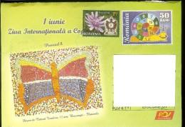 Postcard, Romania, Stationary, Code 099-2006, Children Painting, Snail, Butterfly - Passagiersschepen