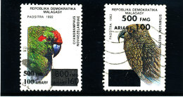 "Madagascar 1998-1999  ( ""   Perroquets ""   2 valeurs surcharg�es �  500 Fmg )    TRES RARES"