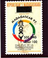 """Madagascar 1998-1999  ( """"  3�jeux de la Francophonie """"   surcharg�  500 Fmg )    TRES RARE"""