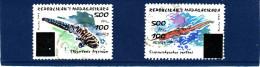 """Madagascar 1998-1999  ( """"  Poissons Pr�historiques""""   2 valeurs surcharg�es �  500 Fmg )    TRES RARES"""