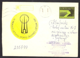 4th World Lithuanian Sport Games On Lithuania  Postal Stationary Used Cover Issued 1991 Sent From Palanga To Klaipeda - Lithuania