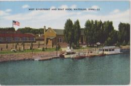 USA,états Unis Amérique,west Riverfront And Boat Dock,WATERLOO,IOWA,howk Black,rare,drapeau Américain,fierté Nationale - Etats-Unis