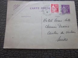 Entiers Postaux Type La Paix+timbre Rajouté Pour Tarif Régime Extérieur -> Tours ->hôtel Beau Site Valais Suisse - Postal Stamped Stationery