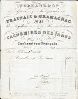 75 PARIS Rue Feydeau 1840  Normand & Cie  Successeur Frainais & Gramagnac Cachemires Des Indes - Textile & Vestimentaire