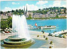 Luzern: OPEL KAPITÄN, DKW 3=6, CITROËN DS, PEUGEOT 403, MERCEDES, VW 1200 - DAMPFER - Wagenbachbrunnen - Suisse/CH - Passenger Cars