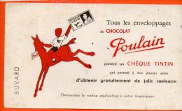 BUVARD  - Chocolat Poulain  - Chèque Tintin (plis Un Peu à Gauche) Dimensions 22 X 12.5 Cm - Cocoa & Chocolat