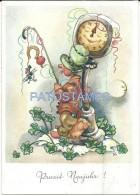 1456 ART ARTE SIGNED ELFRIEDE TÜRR MAN CANE WITH HORSESHOE DOLL TOY SUPPORTED IN BIG CLOCK AND PIG POSTAL  POSTCARD - Schöne Künste